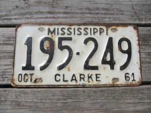 Mississippi Black White License Plate 1961