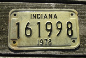 Indiana Motorcycle License Plate 1978