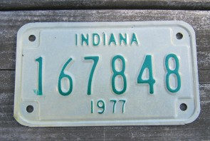 Indiana Motorcycle License Plate 1977