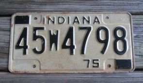 Indiana Black White License Plate 1975