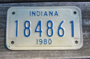 Indiana Motorcycle License Plate 1980