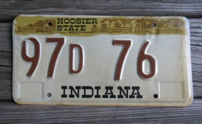 Indiana Hoosier State License Plate 1980's