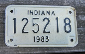 Indiana Motorcycle License Plate 1983