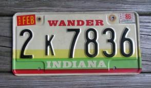 Indiana Wander Indiana License Plate 1986