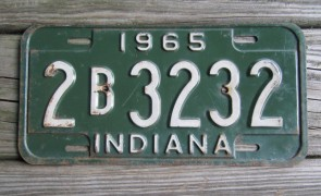 Indiana Green White License Plate 1965