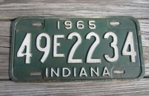 Indiana Green White License Plate 1965 49 E 2234