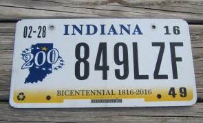 Indiana Bicentennial License Plate 2016