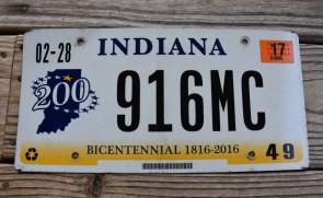 Indiana Bicentennial License Plate 2017
