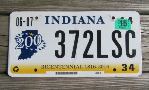 Indiana Bicentennial License Plate 2015