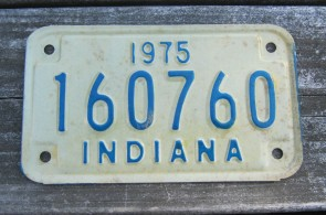 Indiana Motorcycle License Plate 1975