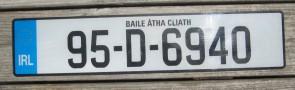 Ireland Euro Band License Plate Baile Atha Cliath IRL 95 D 6940