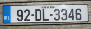 Ireland Euro Band License Plate Dun Na Ngall IRL 92 DL 3346