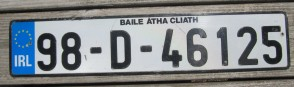 Ireland Euro Band License Plate Baile Atha Cliath IRL 98 D 46125
