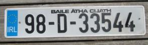 Ireland Euro Band License Plate Baile Atha Cliath IRL 98 D 33544