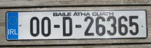 Ireland Euro Band License Plate Baile Atha Cliath IRL 00 D 26365