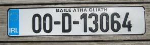 Ireland Euro Band License Plate Baile Atha Cliath IRL 00 D 13064