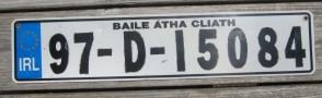 Ireland Euro Band License Plate Baile Atha Cliath IRL 97 D 15084