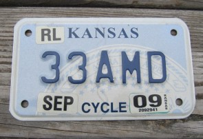 Kansas Motorcycle State Seal License Plate 2009