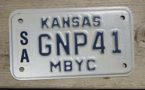 Kansas Moped License Plate 2000's