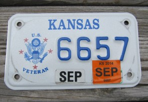 Kansas Motorcycle US Veteran License Plate 2014