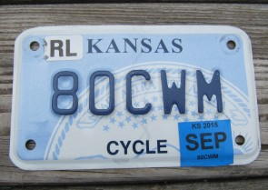 Kansas Motorcycle State Seal License Plate 2015