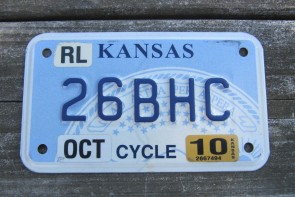Kansas Motorcycle State Seal License Plate 2010