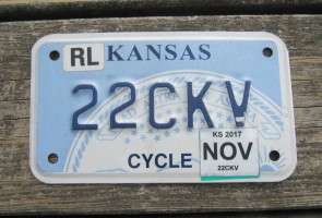 Kansas Motorcycle State Seal License Plate 2017