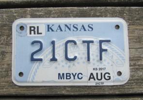 Kansas Motorcycle State Seal License Plate 2017