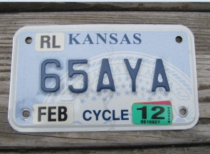 Kansas Motorcycle State Seal License Plate 2012