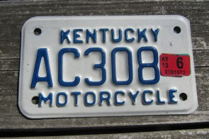 Kentucky Motorcycle License Plate 2013