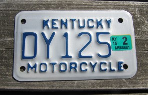 Kentucky Motorcycle License Plate 2015