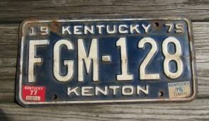 Kentucky Blue White License Plate 1977