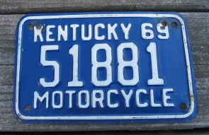 Kentucky Motorcycle License Plate 1969 Blue White