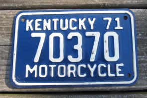Kentucky Motorcycle License Plate 1971 Blue White
