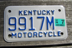 Kentucky Motorcycle License Plate 2006