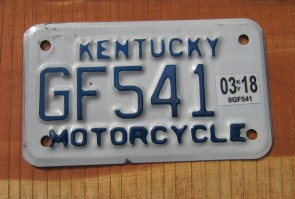 Kentucky Motorcycle License Plate 2018