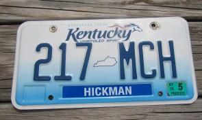 Kentucky Unbridled Spirit License Plate 2015 Hickman County