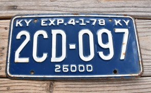 Kentucky Truck License Plate 1978