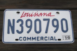 Louisiana Commercial License Plate Sportsman's Paradise 2016