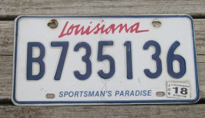 Louisiana Sportsman's Paradise License Plate 2018