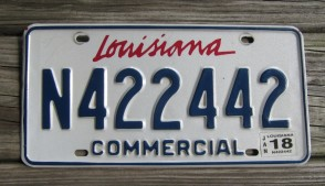 Louisiana Commercial License Plate Sportsman's Paradise 2018