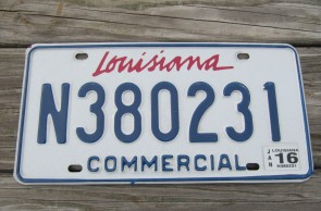 Louisiana Commercial License Plate Sportsman's Paradise 2015