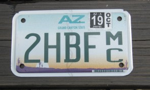 Arizona Motorcycle License Plate Sunset Cactus 2019