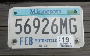 Minnesota Motorcycle License Plate 10,000 Lakes 2019