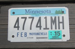 Minnesota Motorcycle License Plate 10,000 Lakes 2015