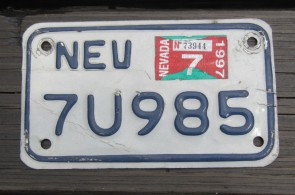 Nevada Motorcycle License Plate White Blue 1997