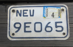 Nevada Motorcycle License Plate White Blue 2003