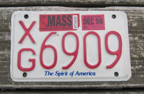 Massachusetts Motorcycle License Plate 1998