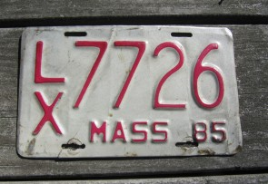 Massachusetts Motorcycle License Plate 1985