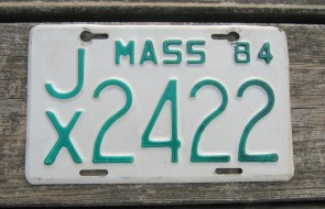 Massachusetts Motorcycle License Plate 1984